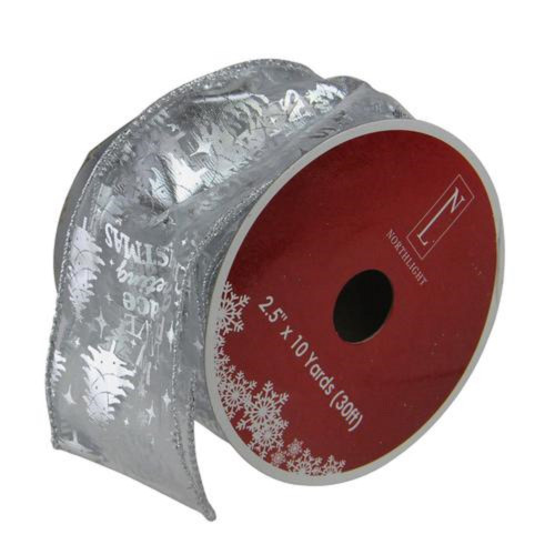 """Silver Wired Christmas Words Craft Ribbon 2.5"""" x 10 Yards - IMAGE 1"""