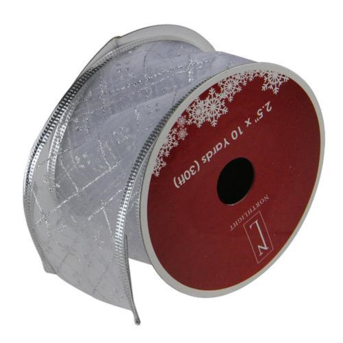 """Shimmering Silver Diamond Christmas Wired Craft Ribbon 2.5"""" x 10 Yards - IMAGE 1"""