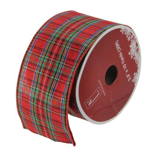 """Red and Blue Plaid Wired Christmas Craft Ribbon 2.5"""" x 10 Yards - IMAGE 1"""