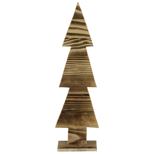 "9.8"" Brown and Ivory Cut Out Christmas Tree Tabletop Decoration - IMAGE 1"