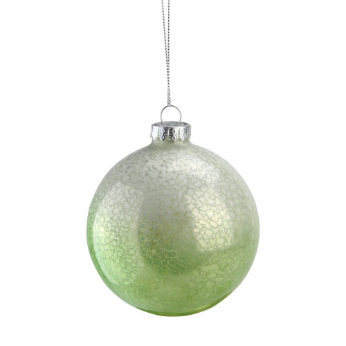 """4.5"""" Green and White Spotted Glass Ball Decorative Christmas Ornament - IMAGE 1"""