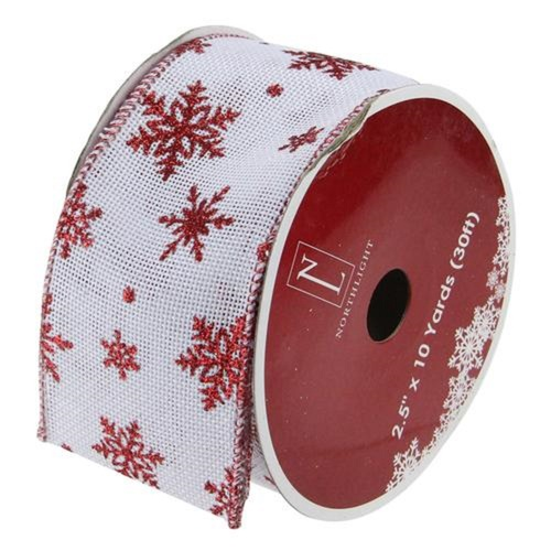 """White and Red Snowflake Christmas Wired Craft Ribbon 2.5"""" x 10 Yards - IMAGE 1"""