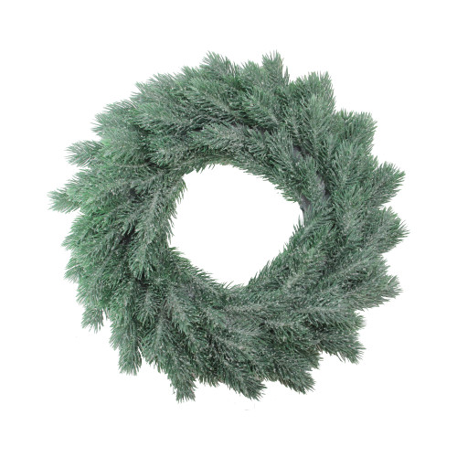 Green Frosted Pine Artificial Christmas Wreath - 16-Inch, Unlit - IMAGE 1