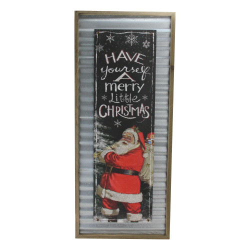 """31.5"""" Red and Black """"Have yourself a Merry Little Christmas"""" Santa Wall Plaque - IMAGE 1"""