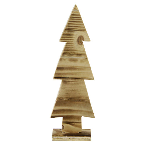 """12.5"""" Rustic Wood Cut-Out Christmas Tree Table Top Decoration - IMAGE 1"""