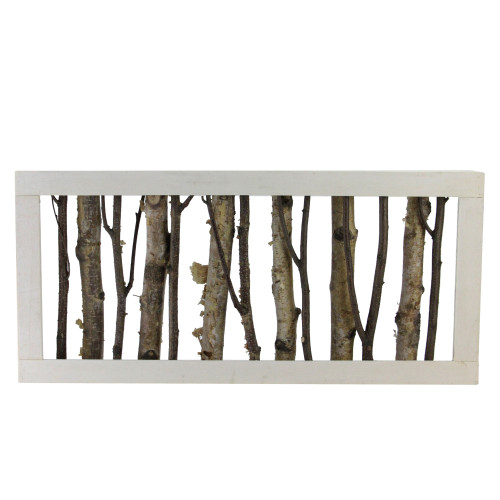 """18.75"""" Mixed Branches in a White Wooden Frame Christmas Tabletop Decoration - IMAGE 1"""