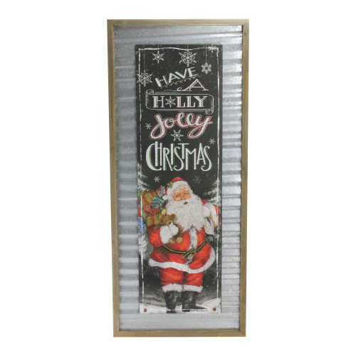 """31.5"""" Red and Black """"Have a Holly Jolly Christmas"""" Decorative Santa Wall Plaque - IMAGE 1"""