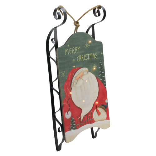 """19.5"""" Hanging Wooden and Metal Santa Claus LED Decorative Christmas Sleigh - IMAGE 1"""