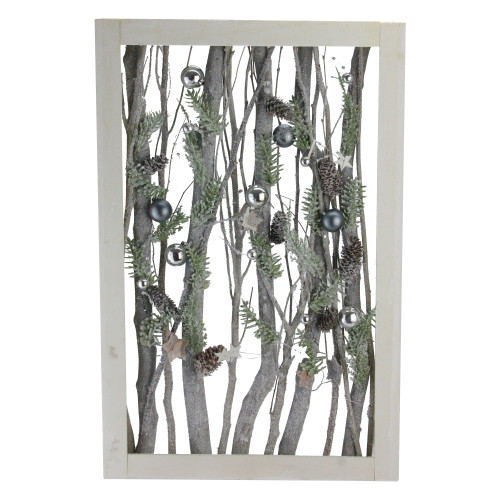 Decorated Standing Birch Branches in Wood Frame Table or Wall Decoration - IMAGE 1