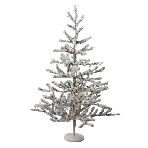 3' Pre-Lit Flocked Alpine Twig Artificial Christmas Tree - Warm White Lights - IMAGE 1