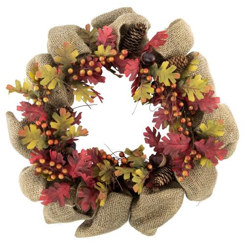 Autumn Harvest Acorn Berry and Burlap Rustic Thanksgiving Wreath, 18-Inch - IMAGE 1