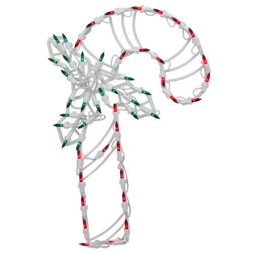 "18"" Lighted Candy Cane with Holly Christmas Window Silhouette Decoration - IMAGE 1"