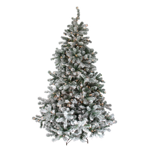 7.5' Pre-Lit Full Flocked Natural Emerald Artificial Christmas Tree - Warm Clear Lights - IMAGE 1