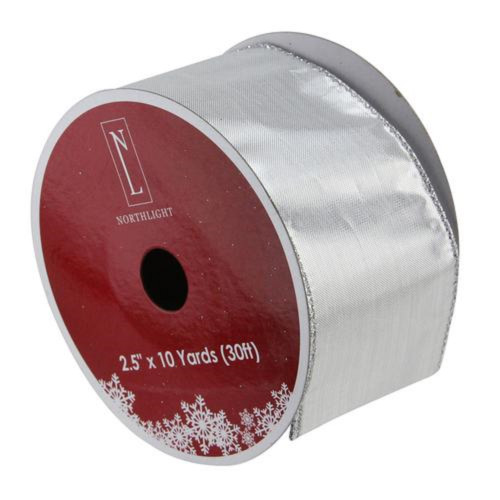 """Silver Christmas Wired Craft Ribbon 2.5"""" x 10 Yards - IMAGE 1"""
