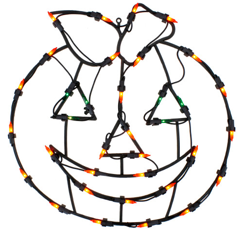 "14"" Lighted Jack-O-Lantern Halloween Double Sided Window Silhouette Decoration - IMAGE 1"