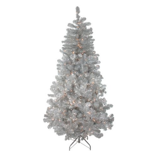 6.5' Pre-Lit Full Silver Metallic Tinsel Artificial Christmas Tree - Clear Lights - IMAGE 1