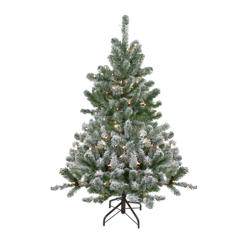 4.5' Pre-Lit Full Flocked Natural Emerald Artificial Christmas Tree - Warm Clear Lights - IMAGE 1