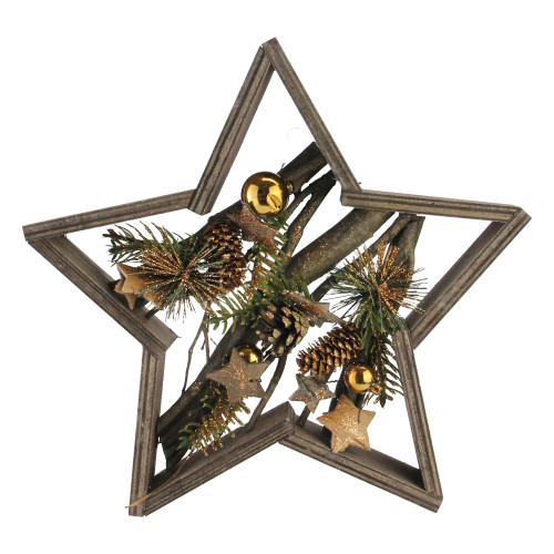 Brown Mixed Branches in Star Frame Christmas Tabletop Decor - IMAGE 1