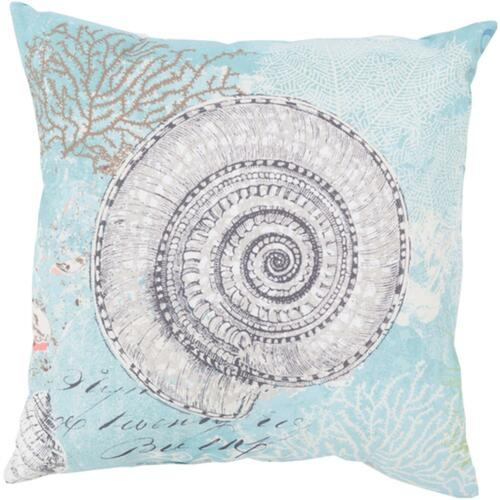 """26"""" Blue and White Turbo Snail Digitally Printed Square Throw Pillow Shell - IMAGE 1"""