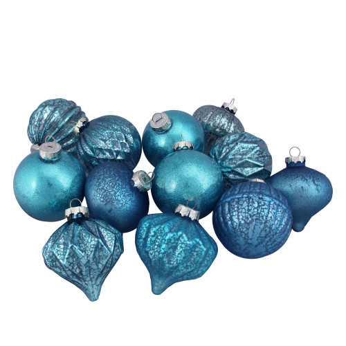 """12ct Teal Blue 3-Finish Christmas Ornaments 3.75"""" (95mm) - IMAGE 1"""