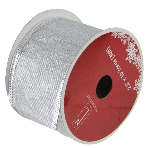"""Pack of 12 Shimmering Silver Wired Christmas Craft Ribbon Spools 2.5"""" x 120 Yards - IMAGE 1"""