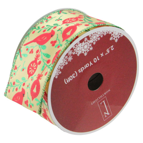 """Club Pack of 12 Green and Ivory Cardinals Wired Christmas Craft Ribbon Spools 2.5"""" x 10 Yards - IMAGE 1"""