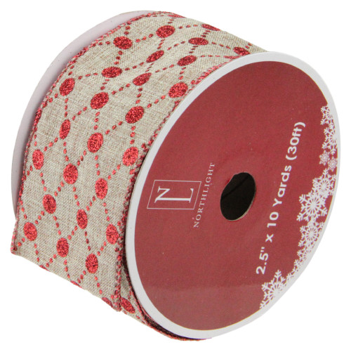 """Red and Beige Diamond Wired Christmas Craft Ribbon 2.5"""" x 120 Yards - IMAGE 1"""