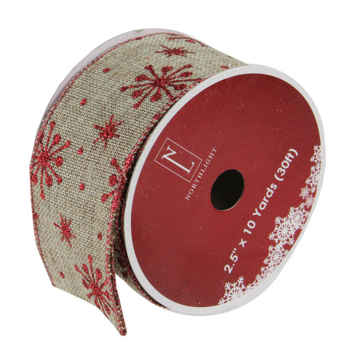 "Club Pack of 12 Red Snowflake and Beige Burlap Wired Christmas Craft Ribbon Spools - 2.5"" x 10 Yards Total - IMAGE 1"