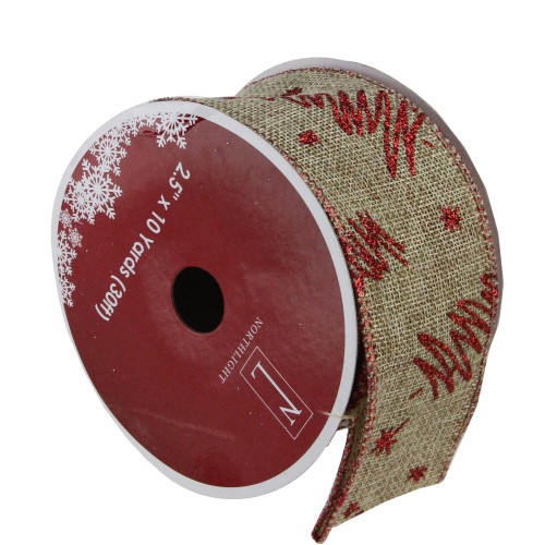 "Red and Beige Christmas Tree Wired Craft Ribbon 2.5"" x 10 Yards - IMAGE 1"