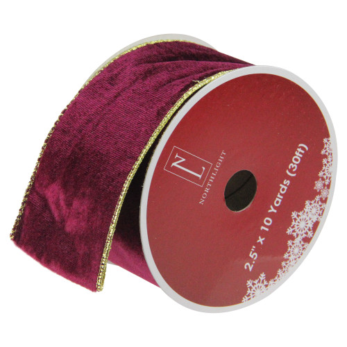 "Club Pack of 12 Red and Gold Wired Christmas Craft Ribbon Spools 2.5"" x 10 Yards - IMAGE 1"