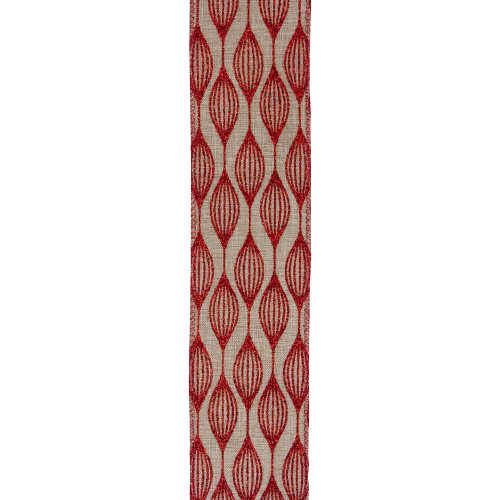 "Club Pack of 12 Red and Beige Christmas Wired Craft Ribbons 2.5"" x 120 Yards - IMAGE 1"