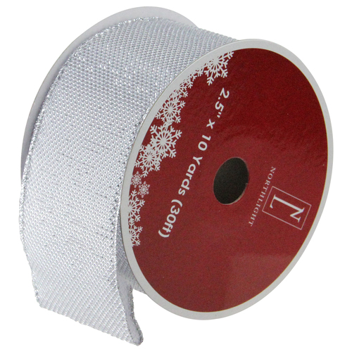 """Club Pack of 12 Gray Burlap Wired Christmas Craft Ribbon Spools - 2.5"""" x 12 Yards - IMAGE 1"""