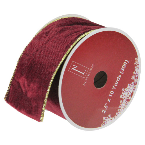 "Solid Wine Red Gold Wired Christmas Craft Ribbon 2.5"" x 10 Yards - IMAGE 1"