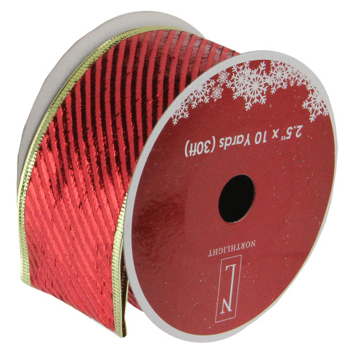 """Club Pack of 12 Shiny Red and Gold Striped Christmas Craft Ribbon Spools 2.5"""" x 120 Yards - IMAGE 1"""