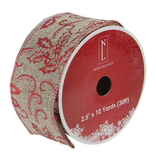 "Club Pack of 12 Red and Beige Burlap Wired Christmas Craft Ribbon Spools - 2.5"" x 12 Yards - IMAGE 1"