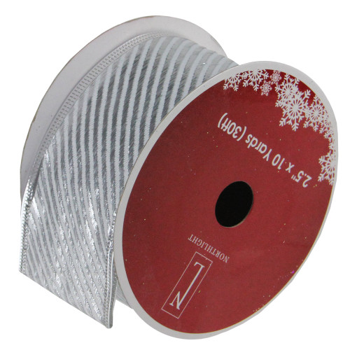 """Club Pack of 12 Shiny Silver Striped Wired Christmas Craft Ribbon Spools 2.5"""" x 120 Yards - IMAGE 1"""