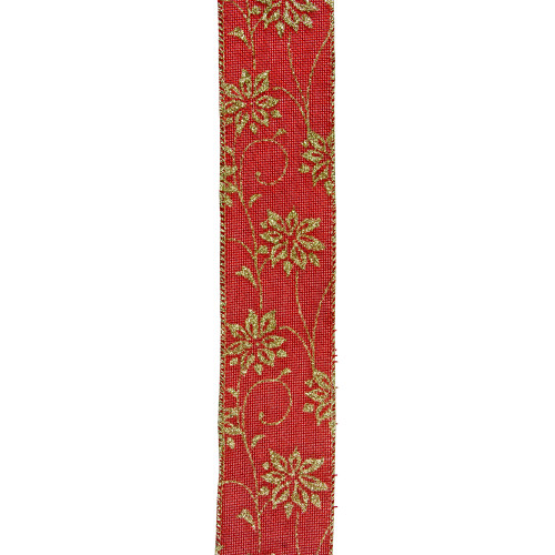 """Club Pack of 12 Cranberry Red and Gold Poinsettia Wired Craft Ribbons 2.5"""" x 120 Yards - IMAGE 1"""