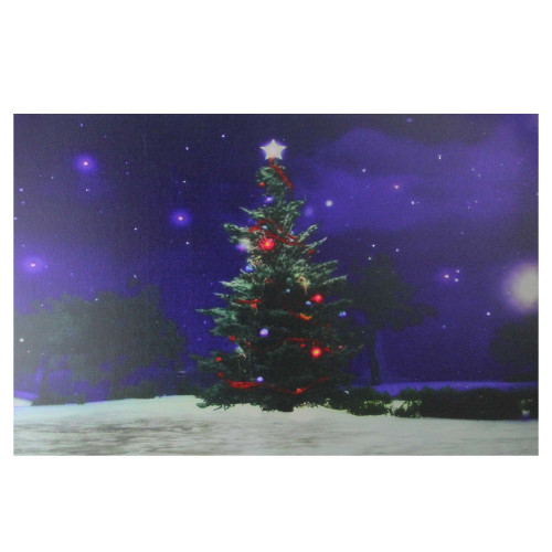 "Fiber Optic and LED Lighted Color Changing Christmas Tree Canvas Wall Art 23.5"" x 15.5"" - IMAGE 1"