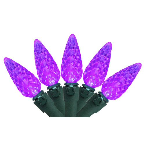 70-Count Purple LED Faceted C6 Christmas Lights Set, 23 ft Green Wire - IMAGE 1