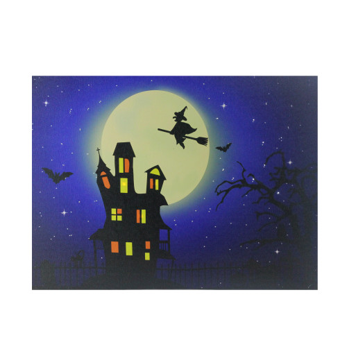 """Fiber Optic and LED Lighted Witch in the Moon Halloween Canvas Wall Art 12"""" x 15.75"""" - IMAGE 1"""
