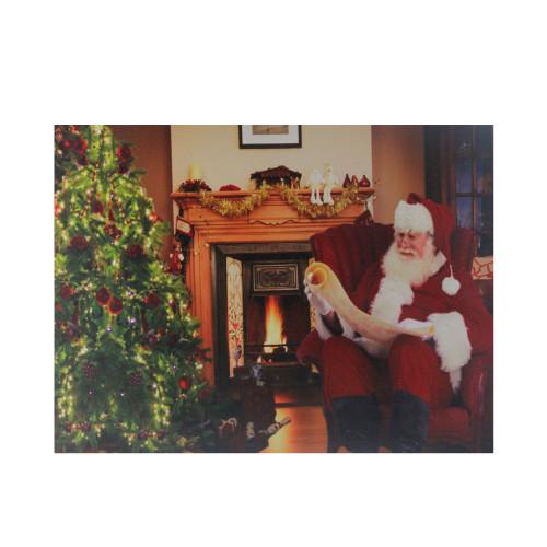 """Fiber Optic and LED Lighted """"Santa Checks His List"""" Christmas Canvas Wall Art 12"""" x 15.75"""" - IMAGE 1"""