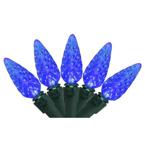 70 Blue LED C6 Mini Christmas Lights - 23 ft Green Wire - IMAGE 1
