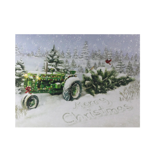 """Fiber Optic and LED Lighted Merry Christmas Tractor Canvas Wall Art 12"""" x 15.75"""" - IMAGE 1"""