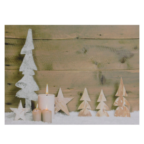 """LED Lighted Flickering Candles and Winter Wooden Trees Canvas Wall Art 12"""" x 15.75"""" - IMAGE 1"""