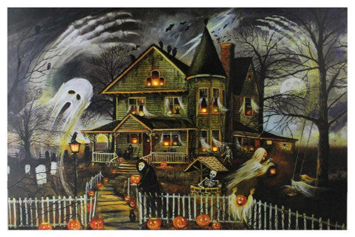 "LED Lighted Creepy Haunted House Halloween Canvas Wall Art 12"" x 15.75"" - IMAGE 1"