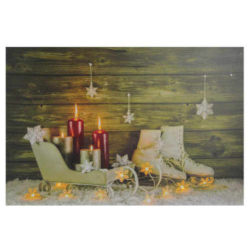 """Large LED Lighted Candles, Ice Skates and Sleigh Christmas Canvas Wall Art 23.5"""" x 15.5"""" - IMAGE 1"""