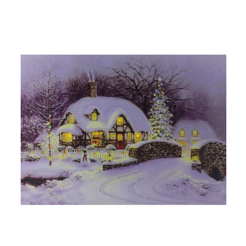 """Fiber Optic and LED Lighted Snowy Christmas House Canvas Wall Art 12"""" x 15.75"""" - IMAGE 1"""