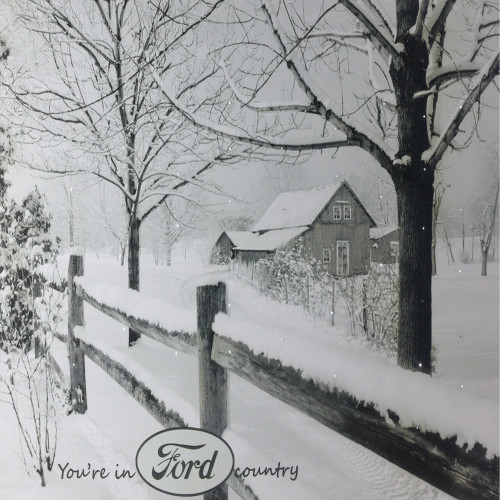 """Fiber Optic Lighted """"You're in Ford Country"""" Snowy Cabin Canvas Wall Art 12"""" x 15.75"""" - IMAGE 1"""