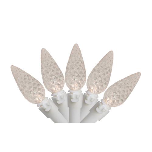 70 Warm White LED C6 Mini Christmas Lights - 23 ft White Wire - IMAGE 1