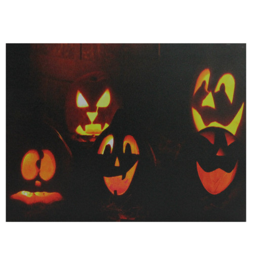 """LED Lighted Silly and Spooky Jack-O-Lanterns Halloween Canvas Wall Art 15.75"""" x 12"""" - IMAGE 1"""
